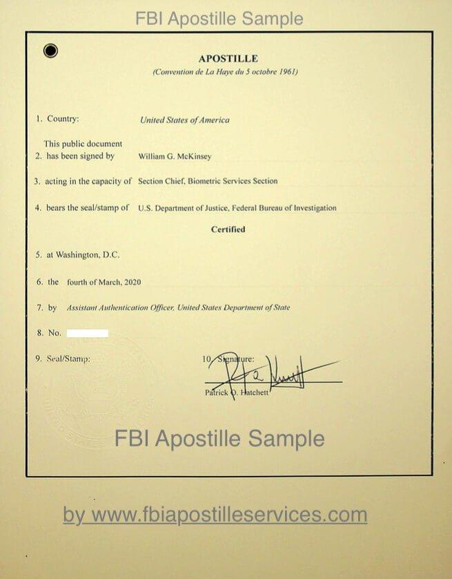 FBI Apostille sample
