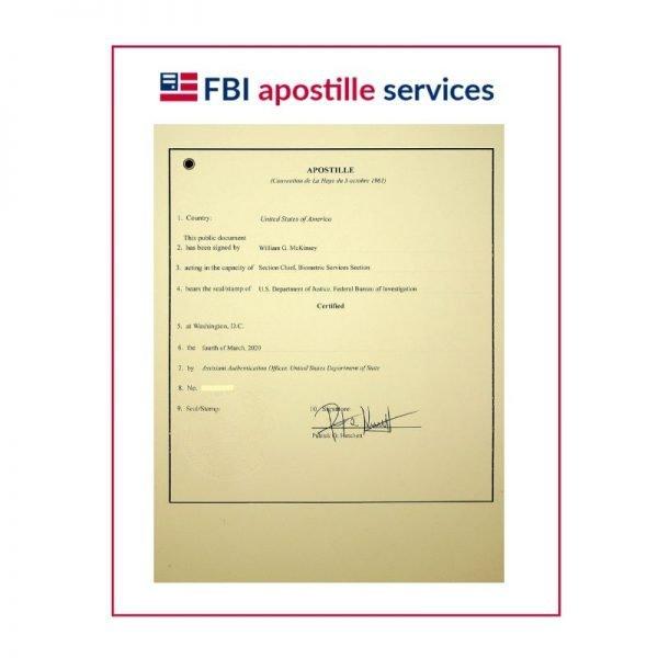 FBI Apostille Service Sample
